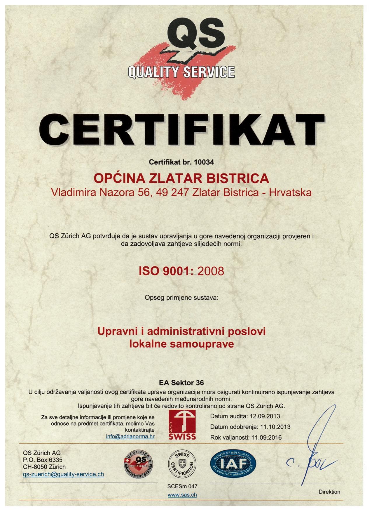 Općina Zlatar Bistrica za svoj rad i dostignute standarde dobila priznanje – Certifikat ISO 9001:2008